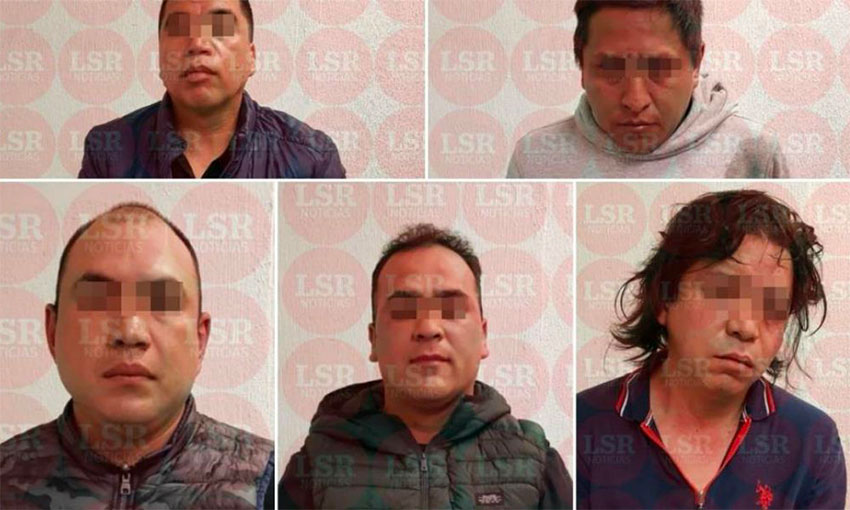 The five suspected gang members arrested in Mexico City.