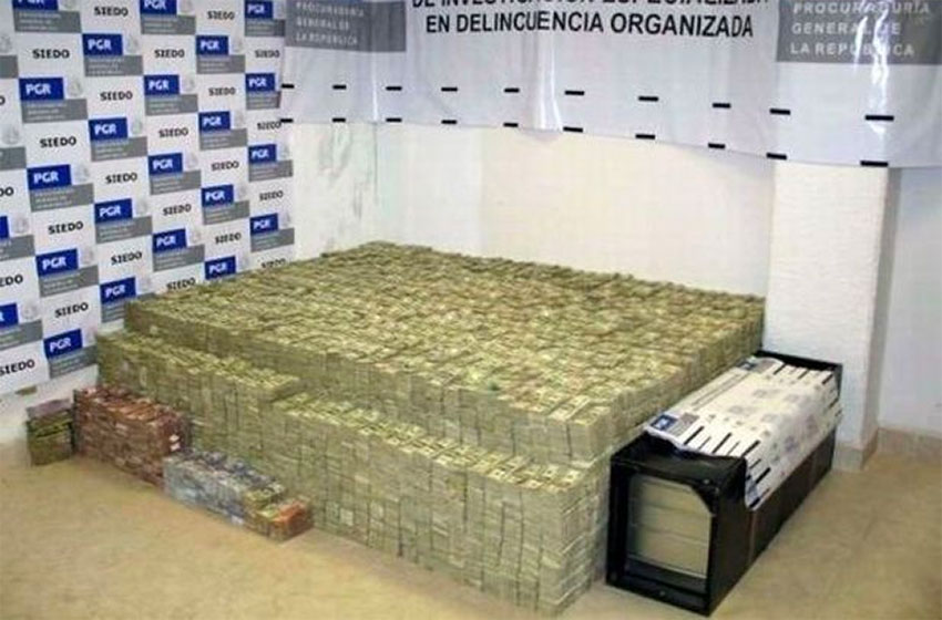 The huge stash of cash found inside the house.