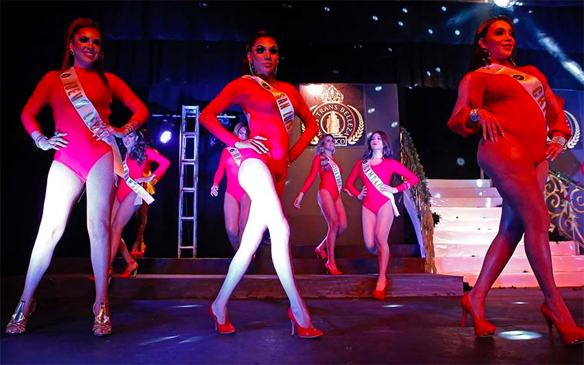 Contestants at Saturday's transgender beauty pageant.