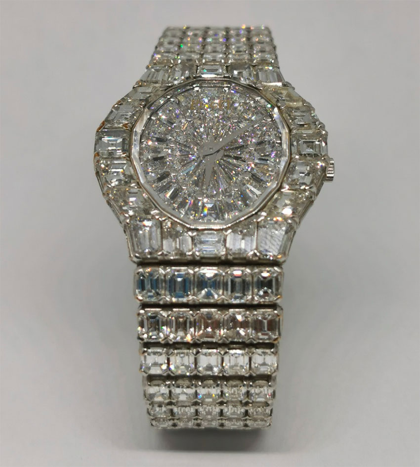 Highest-priced piece is this Piaget men's watch of white gold and diamonds.