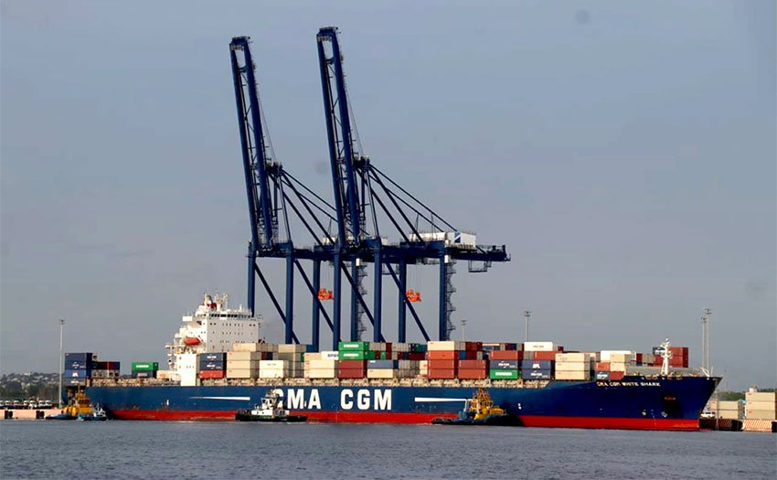 First ship arrives at new container terminal.
