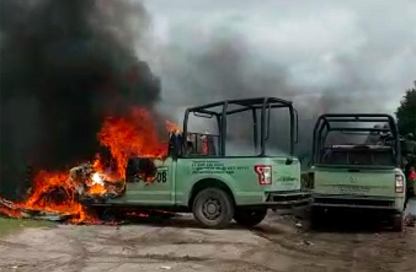 Pemex trucks burn Friday in Tepeaca, Puebla.