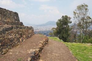 Temple and volcano view atop Cerro de la Estrella National Park.