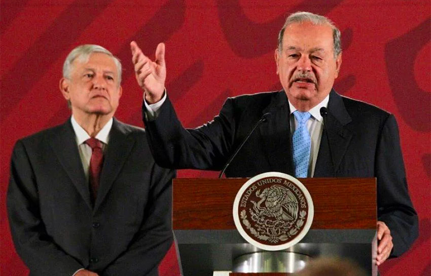 Carlos Slim speaks about the pipeline agreement during Tuesday's presidential press conference.