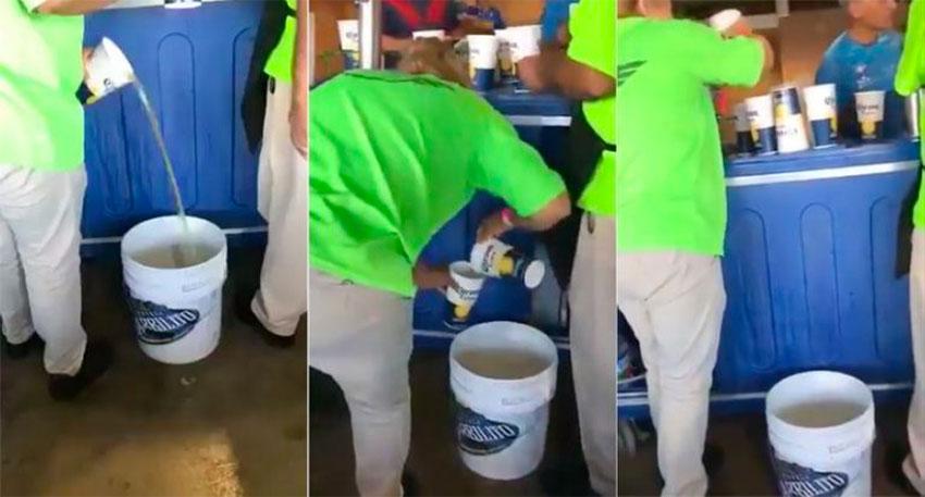The hidden beer bucket at a stadium in Coahuila.