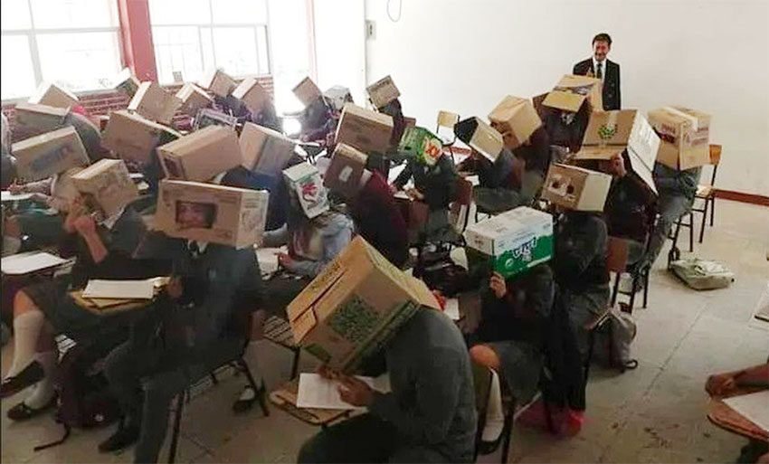 Anti-cheating strategy in Tlaxcala high school.