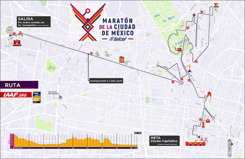 "The 2019 Mexico City Marathon route. <span class=""gc""maratón cdmx</span>"