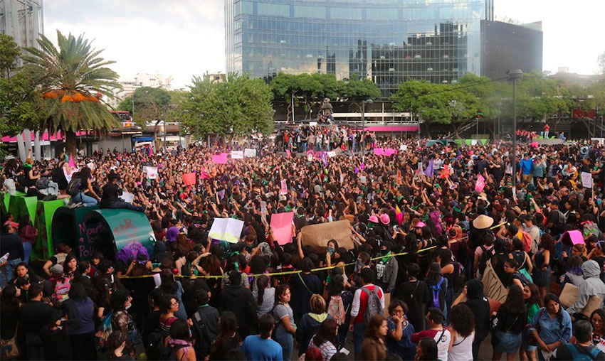 Women march for a second time this week in Mexico City.