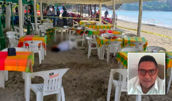 Nava, inset, and the crime scene today in Zihuatanejo.