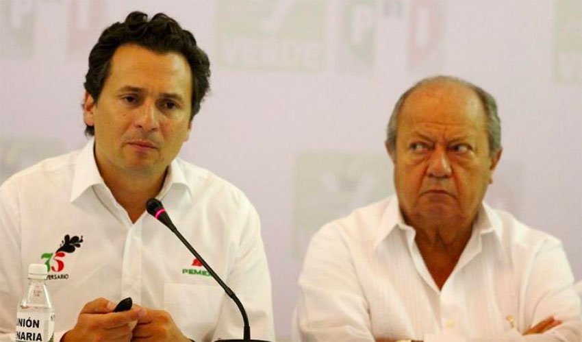 Former Pemex chief Emilio Lozoya, left and union leader Romero.