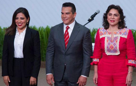 PRI leadership candidates Piñon, Moreno and Ortega.