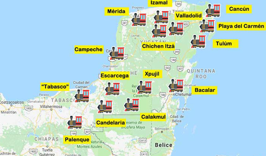 Locations of the first 15 stations on the Maya Train line.