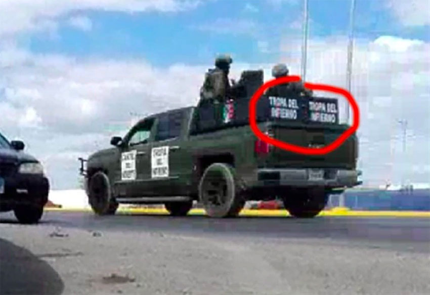 A modified pickup becomes a 'narco-tank.'