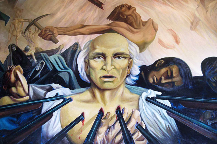 Mural in Chihuahua depicting the execution of Miguel Hidalgo.
