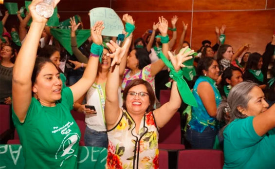 Supporters of abortion law cheer yesterday in Oaxaca.