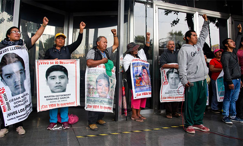 Parents of the missing students and supporters at a demonstration in Mexico City.