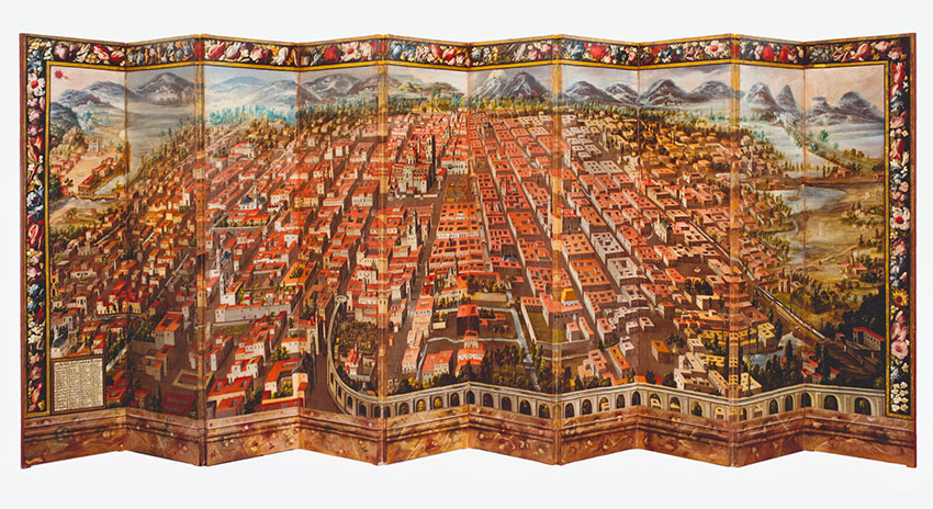 The two-sided, 17th-century screen. This side shows an early Mexico City.