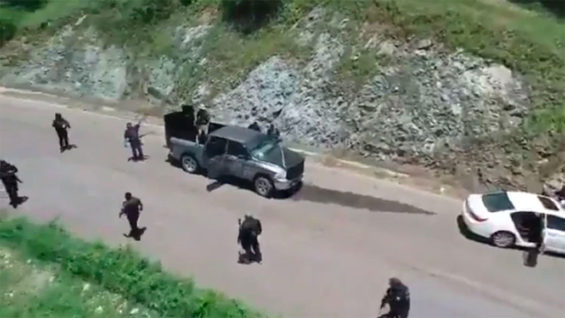 Frame from a video taken during the CJNG's attack on Friday.