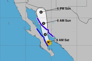 Lorena's forecast track at 10:00am CDT on Saturday.