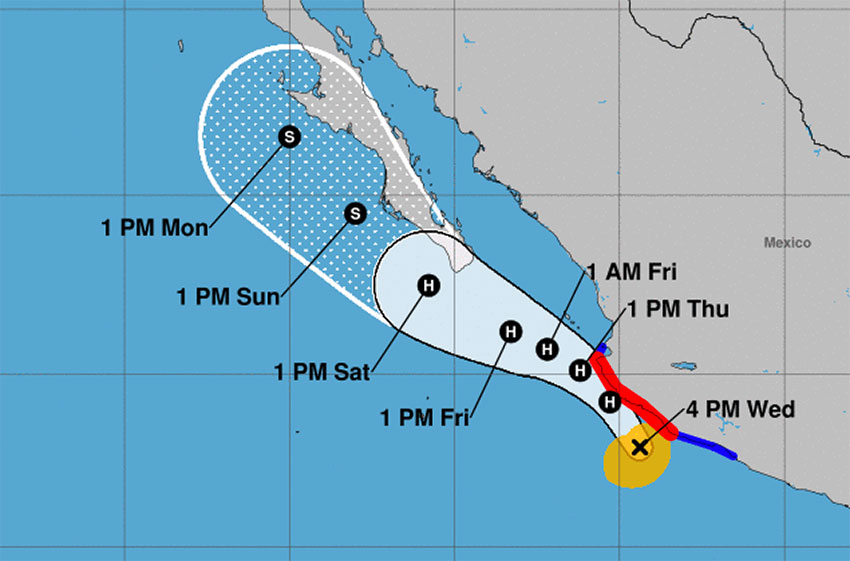 Lorena's forecast track as of 4:00pm Wednesday.