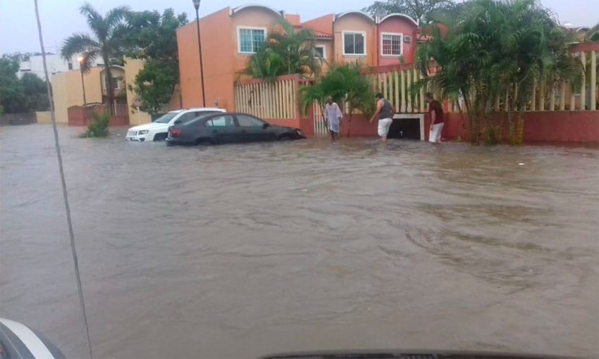Flooding caused by Narda on the weekend in Guerrero.