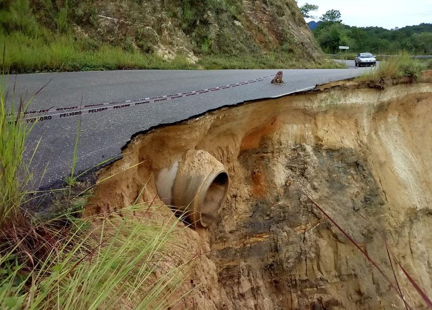 Road damage in Oaxaca.