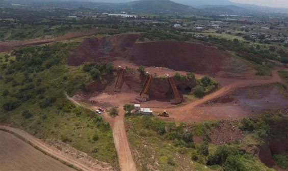 One of the allegedly illegal quarries that supplied building materials to the new airport.