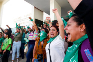 Women celebrate Oaxaca abortion decision this week.