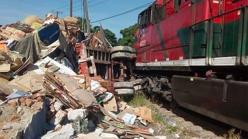 The wreckage in Veracruz after semi failed to cross the tracks in time.