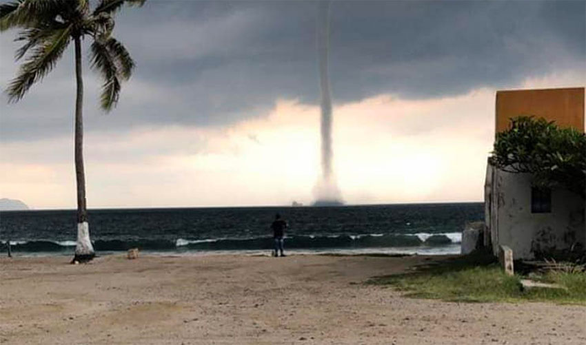The waterspout was visible from many areas of the port.