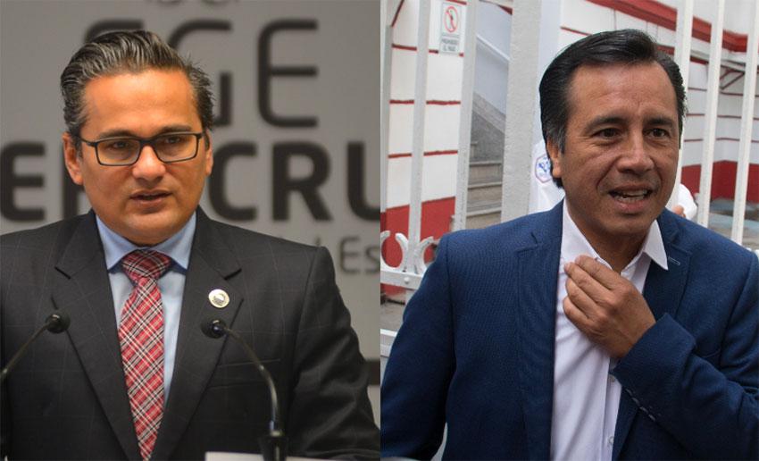 Suspended attorney general Winckler, left, and Governor García: no love lost.