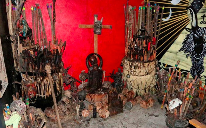 The gang leader's altar where demons were invoked to provide him with protection.