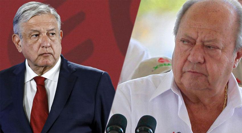 López Obrador, left and union boss Romero.