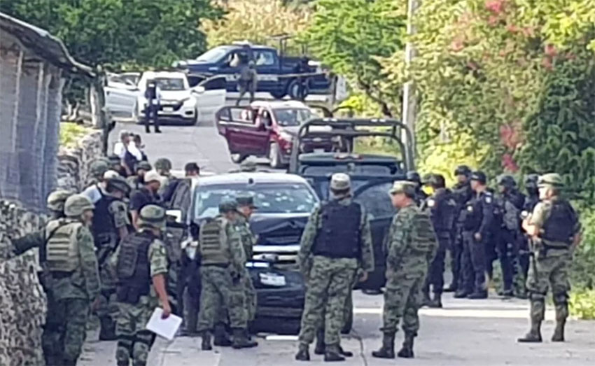 Soldiers at the scene of Tuesday's attack in Guerrero.