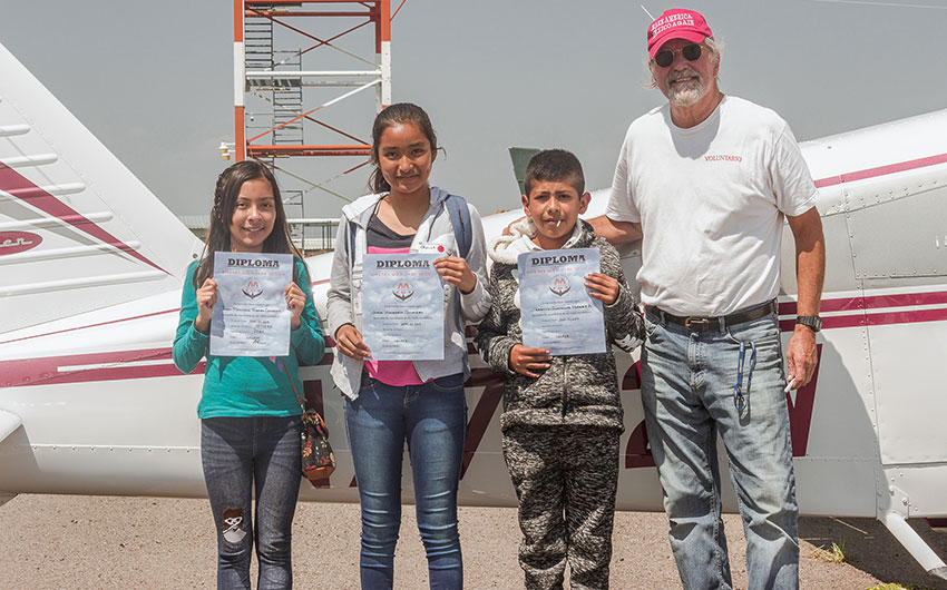 Young Eagles with their aviation program diplomas.