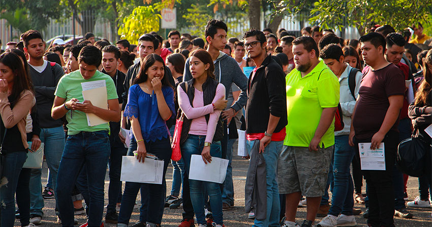 Students line up for a university entrance exam in Guadalajara.