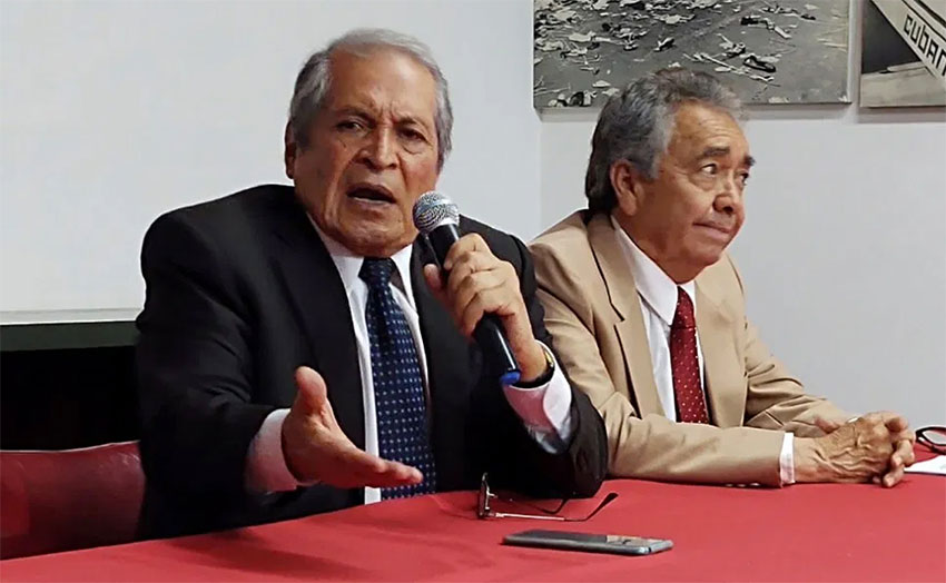 Guzmán family lawyers give a press conference in Culiacán.