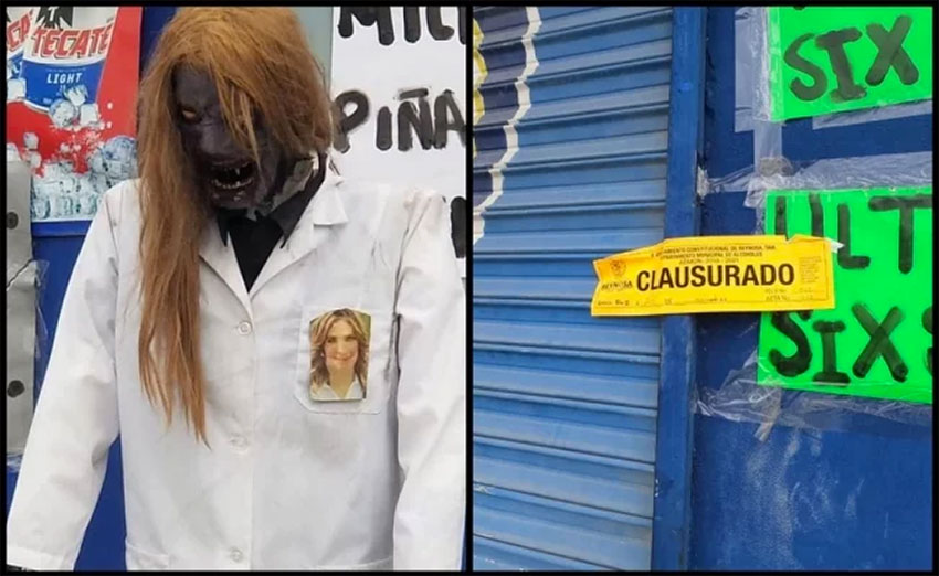 The 'makizombie,' left, and the closed sign placed by authorities.
