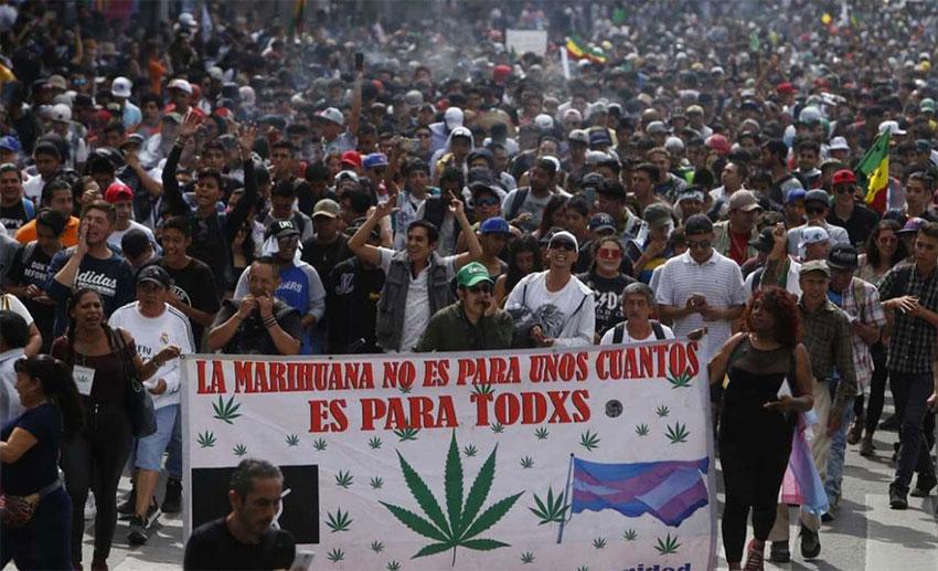 A pro-marijuana march in Mexico City.