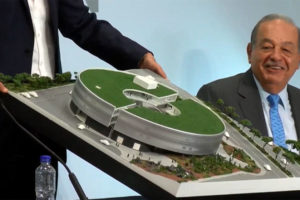 Carlos Slim looks on as new museum is unveiled at a press conference on Wednesday.