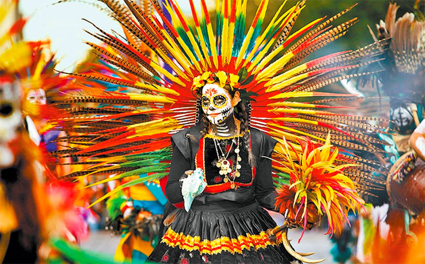 Elaborate costumes are a feature of the Mexico City parade.