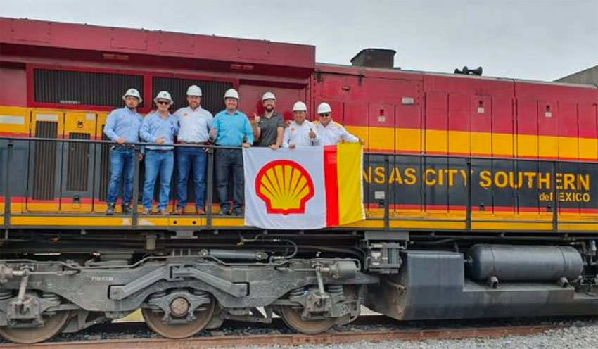 Shell gasoline is now being shipped to Mexico by train.
