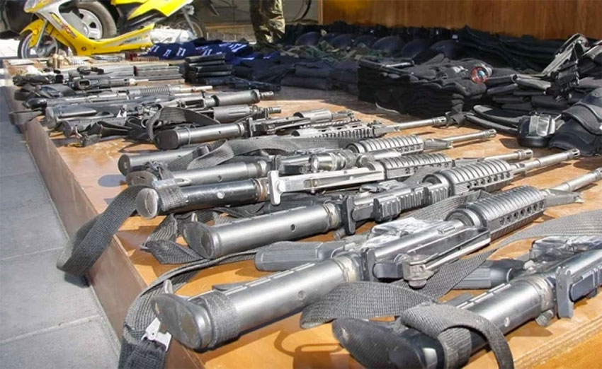 Illegal weapons decommissioned by Mexican authorities.