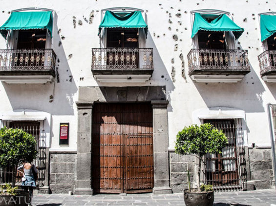 Serdán's home, still pocked with holes from artillery shells, is now a museum