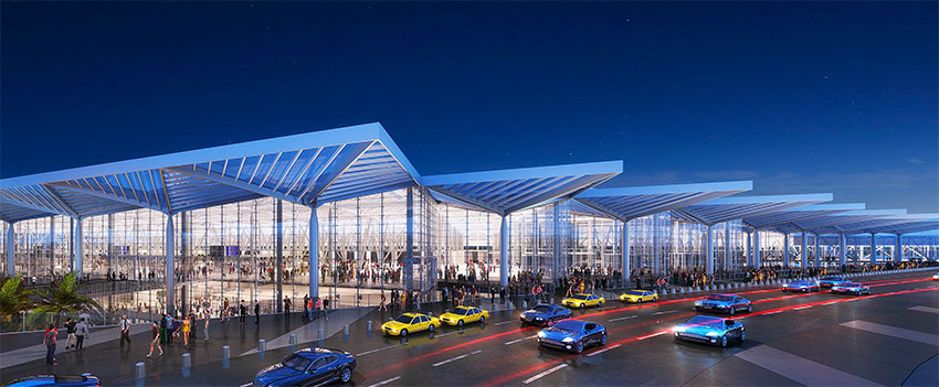 Terminal building will feature lots of glass.