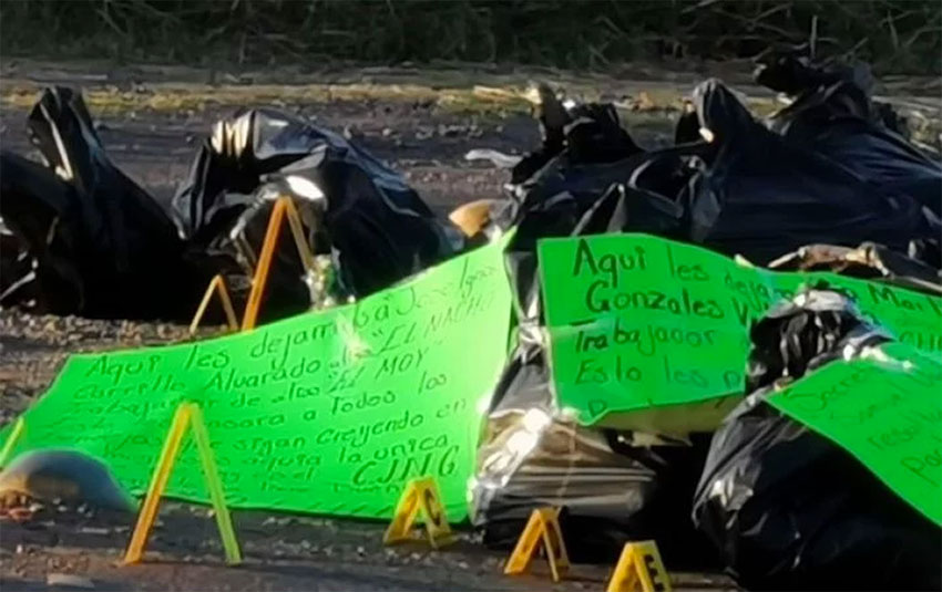 Bags and posters found on a Guanajuato highway.