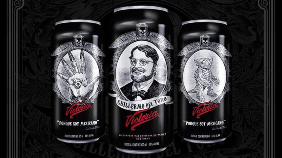 The Victoria beer cans featuring the fimmaker and two monster creations.