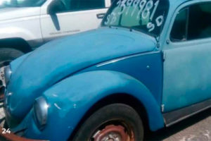 The rusty old narco-Beetle went for 20,000 pesos.