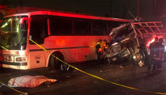At right, the bus that attempted to pass on the shoulder.