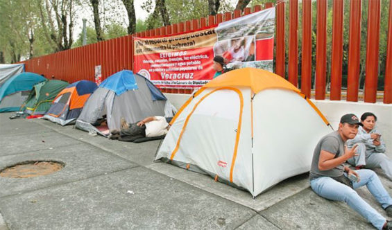 Farmers' tents outside the lower house of Congress in Mexico City.